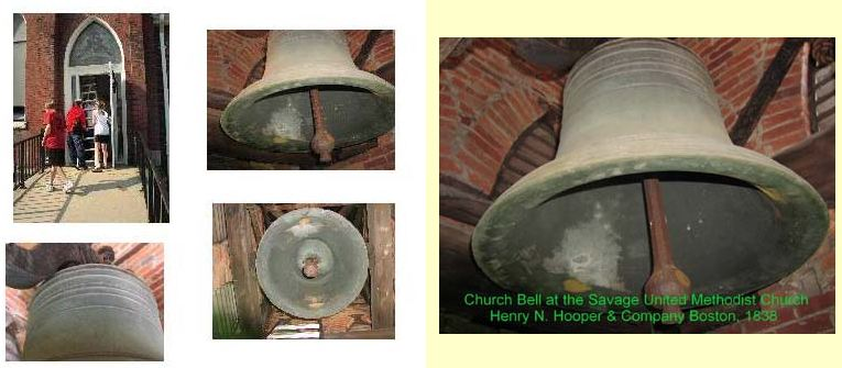 large collage of savage umc church bell